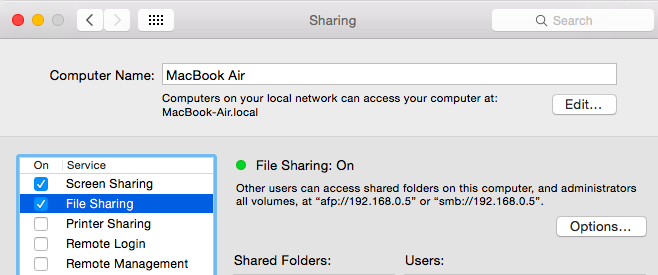 Turn File Sharing On