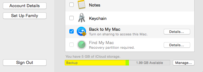 Select Back to My Mac and Follow Instructions