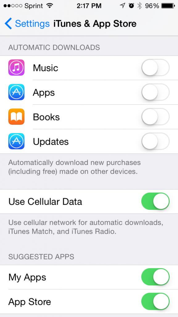 Automatic Downloads Sync iPhone to iPad